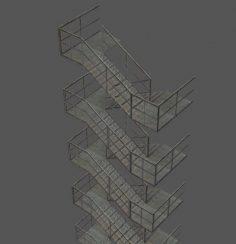 مدل سه بعدی پله اضطراری