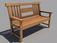 مدل سه بعدی نیمکت چوبی